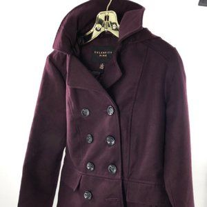 Celebrity Pink Double-Breasted Hooded Peacoat NWT